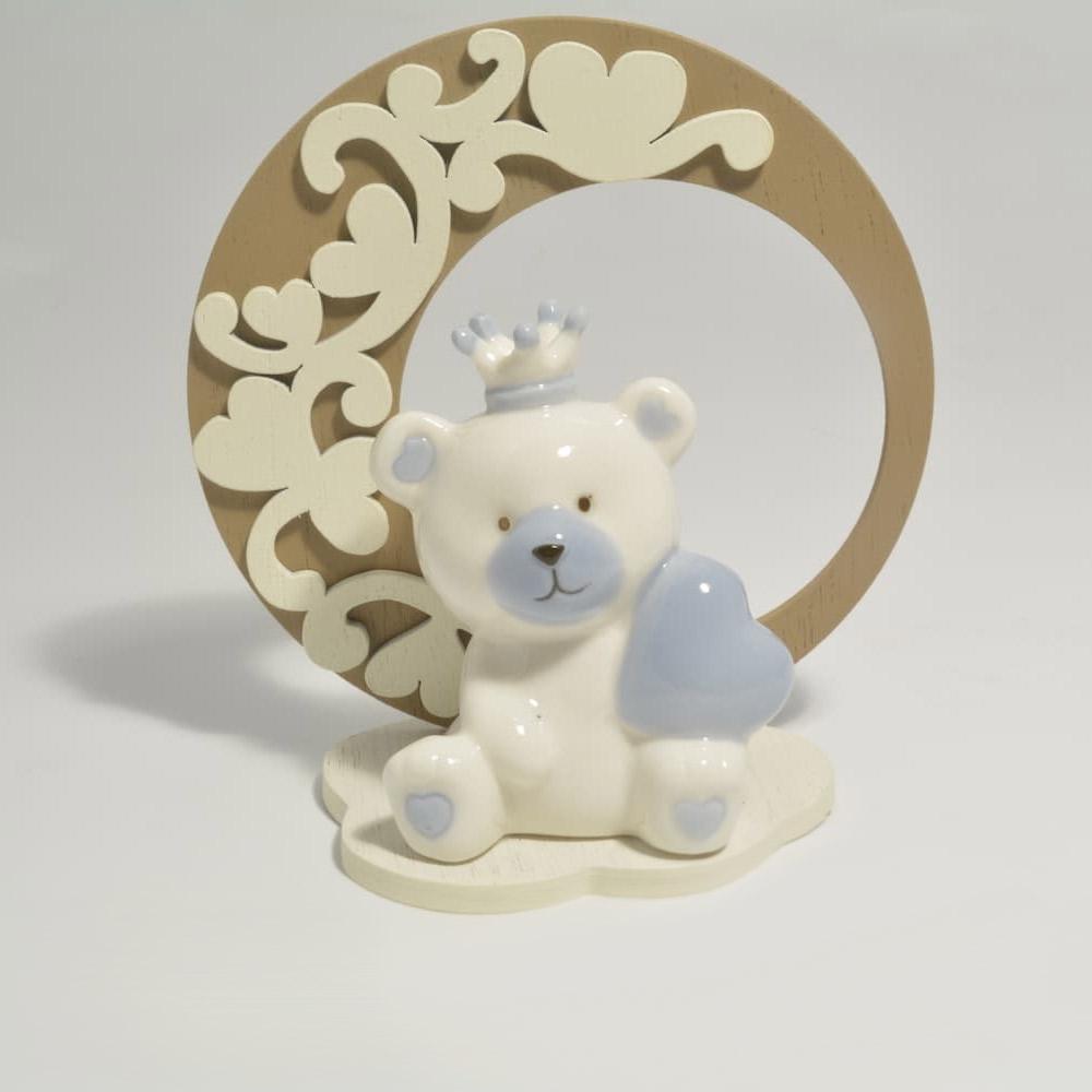 Orsetto celeste in porcellana e legno - Claraluna - Di ...
